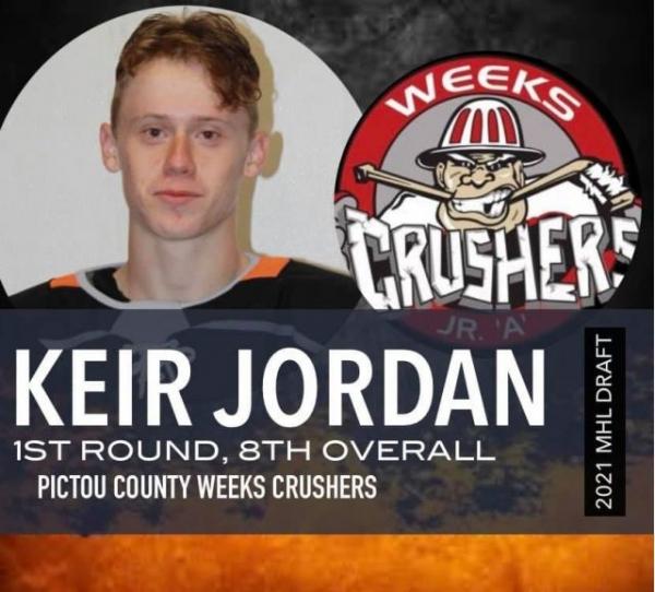 Pictou County Weeks Junior A Crushers select defenseman Kier Jordan
