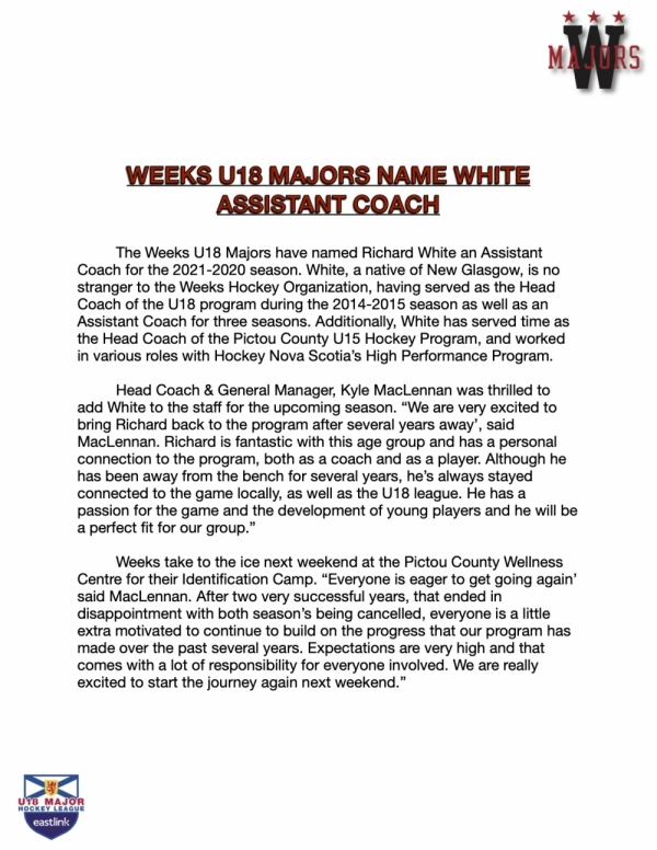 Weeks Name White Assistant Coach