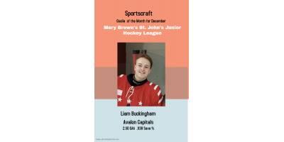Sportscraft Goalie of the month for December 2019